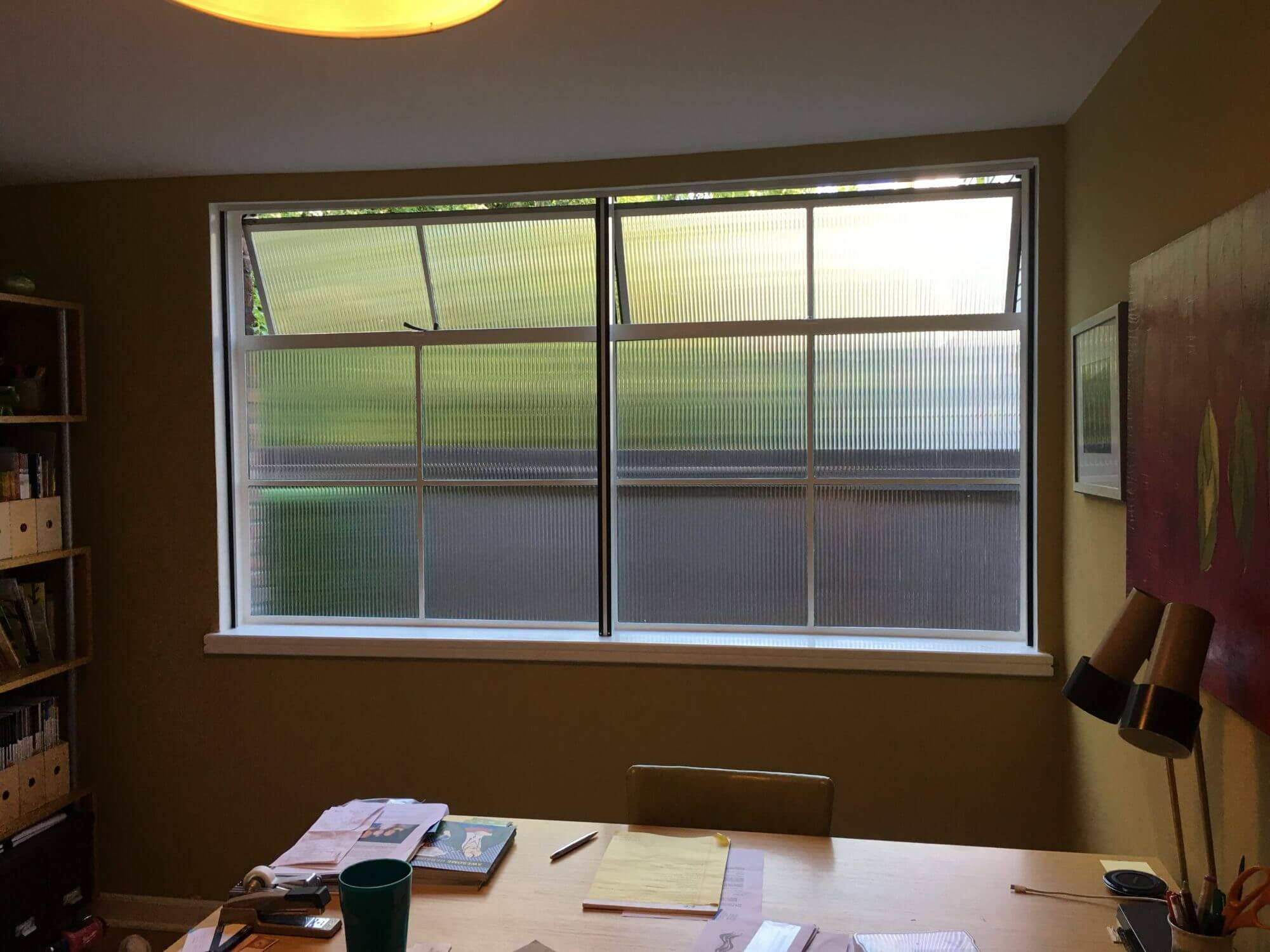 After SX-1254 Reeded Glass Window Film